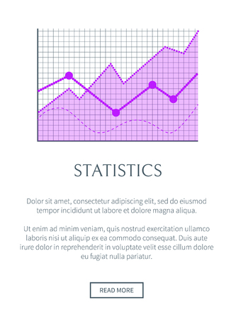 Statistics data representation in form of graphic. Statistical info promotional banner with linear chart on coordinate system vector illustration.