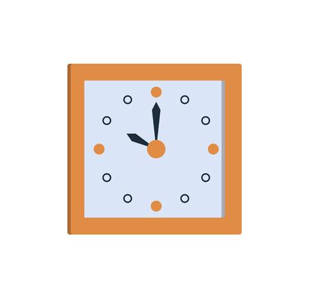 흰색 배경에 고립 된 계시기의 시간 10시 벡터 일러스트 레이 션을 보여주는 시계 아이콘 사각형 벽 시계. 평면 스타일 디자인의 세련된 타이머