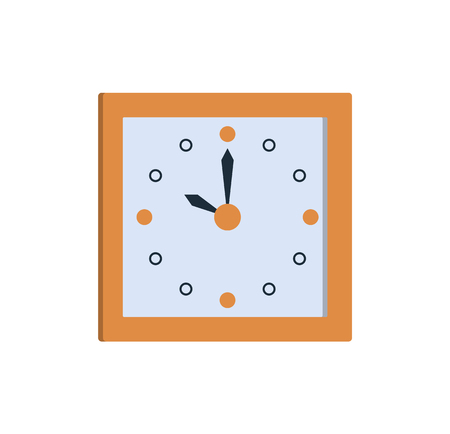 Clock icon square wall watch showing time ten o clock vector illustration of timekeeper isolated on white background. Stylish timer in flat style design Illustration