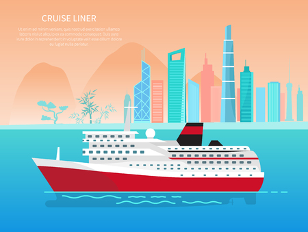 Cruise liner banner and text sample with headline, cruise liner and cityscape with mountains, trees poster and title isolated on vector illustration