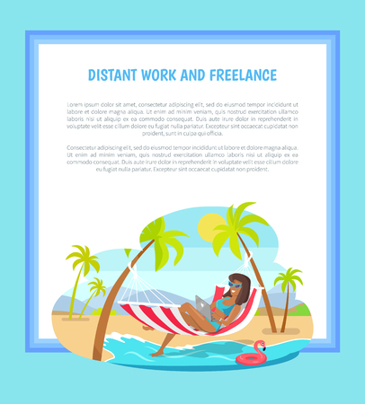 Distant work and freelance web poster woman lying on hammock with notebook, tropical landscape, freelancer among palm trees, mountains backdrop vector