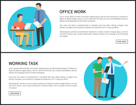Office work and working task Internet banners set. Businessmen discuss affairs on promo posters. Comunication process isolated vector illustrations. Illustration
