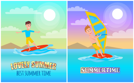 Lovely summer banners set titles and lettering, summertime sports poster, windsurfing or surfing on surfboard, collection cartoon vector illustration.