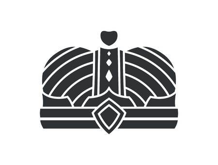 Royal unusual ancient crown precious stone, with heart on top. Royalty headdress sign as symbol of power. Kings gorgeous headdress isolated monochrome vector