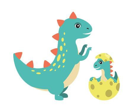 T-rex and kid in egg with black dots image of dinosaurs type, old reptile new generation, prehistoric vector illustration isolated on white background