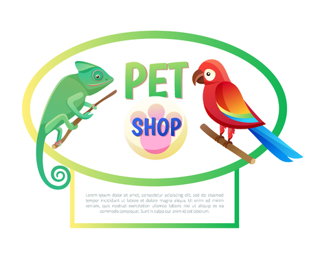 Pet shop poster with animals and text sample, headline sampe, parrot, lizard on branch, domestic friends assortment, vector illustration, isolated on white Illustration