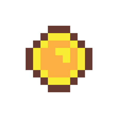 Coin of pixel form object, metal money pixelated item used in video games, golden currency element vector illustration isolated on white background.