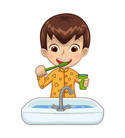 Jongen houdt kopje boven wasbak, vol met water tijdens het tandenpoetsen, kind pyjama dragen, persoon geïsoleerd op witte vectorillustratie Vector Illustratie