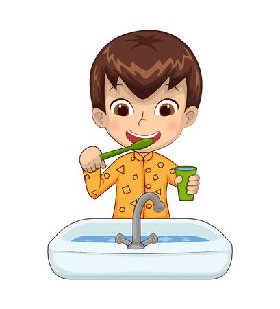 Junge, der Tasse über Waschbecken hält, voll Wasser im Prozess des Zähneputzens, Kind, das Pyjamas trägt, Person lokalisiert auf weißer Vektorillustration Vektorgrafik