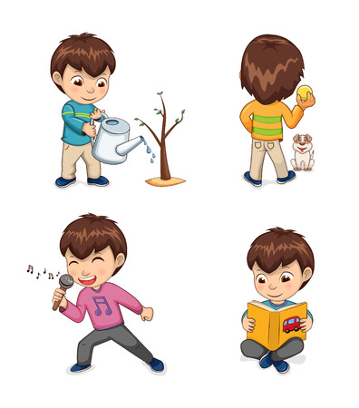 Childhood of boy collection, little kid watering plant growing in ground, playing with dog, singing and reading attentively set vector illustration