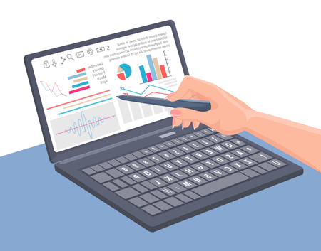 Charts collection laptop, information on computer, diagrams text, hand with pointer, screen and presentation isolated vector illustration