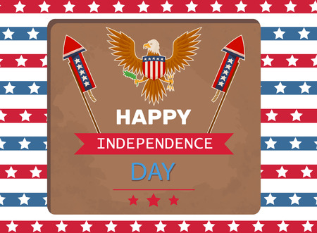 Happy Independence day eagle poster with title celebration independent holiday leaves and arrows in birds claws, isolated on vector illustration