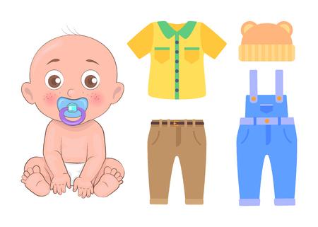Bébé mignon avec ensemble de vêtements isolé sur illustration vectorielle de carte blanche d'enfant, dans la bouche, vêtements de pépinière joli t-shirt chapeau pantalon et salopette