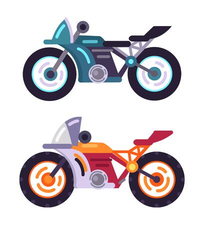 Scooters gemotoriseerde moderne motor modellen set, voertuig voor rit naar het werk, vector illustratie stijlvolle fiets pictogram geïsoleerd, fietsen met snelheidsmeters