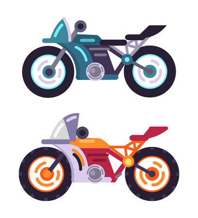 Scooters motorized modern motorbike models set, vehicle for ride to work, vector illustration stylish bike icon isolated, bicycles with speedometers Ilustração