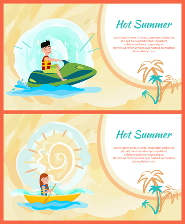 Hot summer text sample posters set, collection of activities in summertime, boating and jet ski, palm trees vector illustration isolated on orange. Illustration