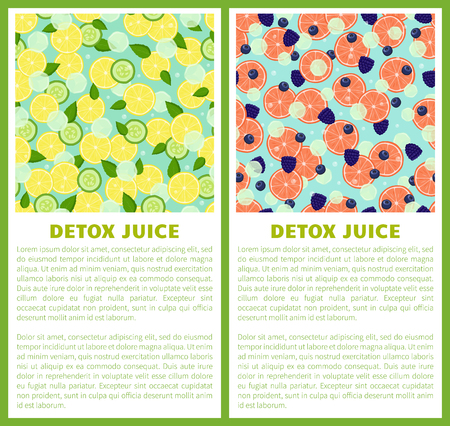 Detox juice poster ingredients of refreshing drink lemon and cucumbers, grapefruit slices with black raspberries and blueberries vector with text set
