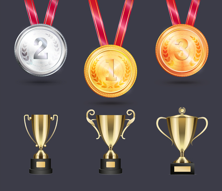 Shiny medals and golden cups for sportive wins. Awards outstanding achievements in sport. Different prizes on ribbon vector illustrations set.