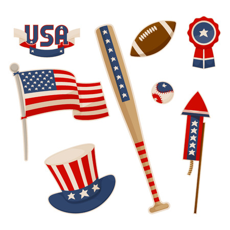 America symbols collection vector baseball bat national american flag and uncle Sam hat, label stickers, football game balls, patriotic accessories Illusztráció