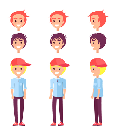 Teenagers collection, constructor with male heads haircut, smiling person wearing cap and trousers, jeans jacket, human vector illustration Ilustração