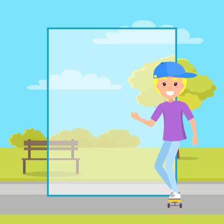 Empty banner with frame and teen on skateboard boy in cap stands on skate in park, blank filling form template with sportive male vector illustration.