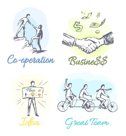 Successful Business Main Components Sketches Set