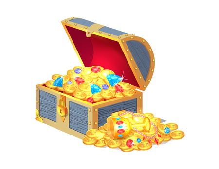 Ancient gold treasures in open wooden chest. Lost gem composed of ancient money, bright diamonds and royal goblet isolated vector illustration Illustration