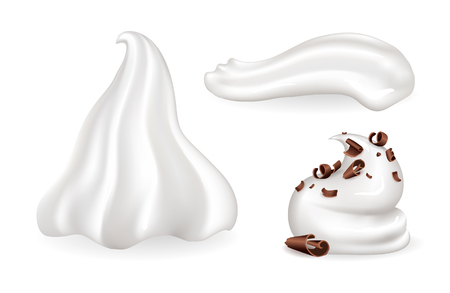Whipped cream collection, different mousse shape made of milk and sweetened with vanilla, chocolate dessert decoration isolated on vector illustration