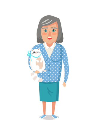 Elderly woman in blue jacket with home cat, grandmother vector of granny with cute domestic kitten pet isolated on white background, lady on retirement Illustration
