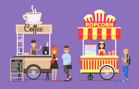 Hot coffee and crispy popcorn carts with vendors in aprons set. People buy beverages snack for movies. Street food vector illustrations buyers customers