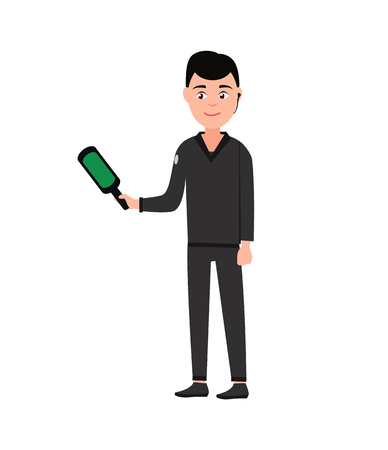 Security male in airport holding x-ray, scanner device to denote dangerous thing carried by people, worker wearing black uniform, vector illustration Illustration