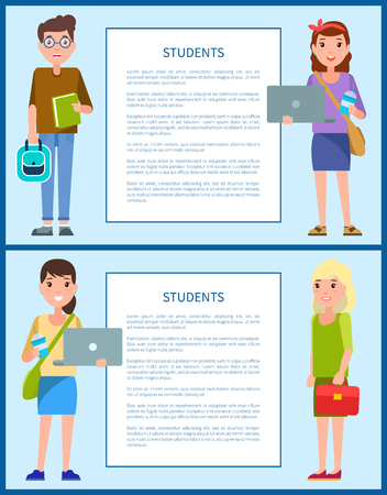 Male and female teenagers set vector illustration characters. Students first year freshman former pupils boys and girls on posters with frame for text