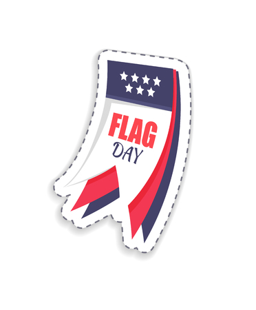 Flag day title represented on calendar, sacred date for americans, celebration of important event in July, fourth isolated on vector illustration