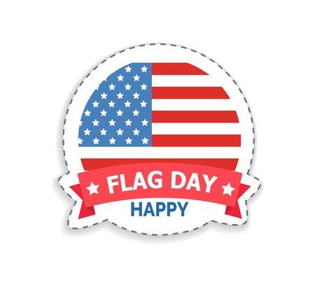 Flag day happy celebration of holiday held in July fourth, stripes and stars symbols of United States of America, isolated on vector illustration Illustration