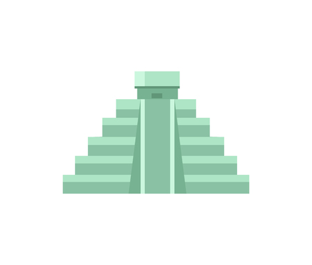 Ancient Maya Pyramid with small temple on top. Historical attraction from Mexico in shape of stairs. Mysterious sight isolated vector illustration.