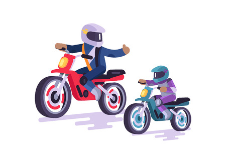 Bikers family colorful poster vector illustration of extreme father and small son on bright sport bikes, men in special helmets equipment for riding