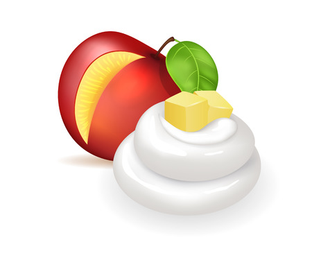 Sweet nectarine with fresh whipped cream swirl. Delicious juicy fruit cubes and milky topping. Natural summer dessert isolated vector illustration.