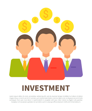 Investment poster with businessmen coins icons, abstract money exchanging process vector illustration text sample and finance of successful people Illustration