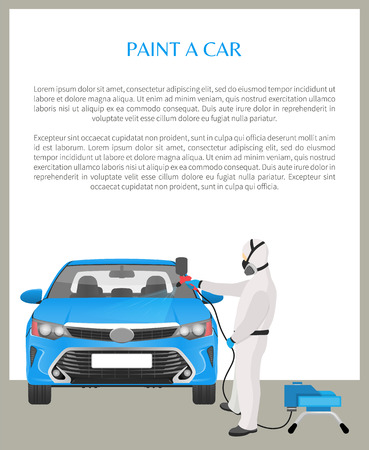 Paint car, poster and editable text sample in box, auto mechanics with dispenser painting vehicle blue information data headline vector illustration