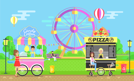 Street food trolleys with vendors family park near ferris wheel. Tasty pizza and sweet cotton candy mobile shops in amusement parkland vector illustration Illustration