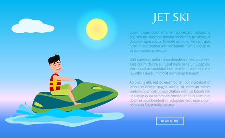 Web poster summer sport activity, man riding on water scooter, wearing life-jacket and smiling, jet ski ride and splashes vector on blue sea