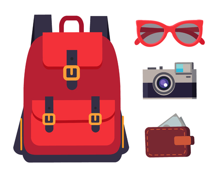 Backpack sunglasses and wallet full of banknotes, camera capturing moments, travelling kit collection vector illustration isolated on white background