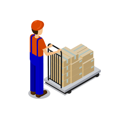 Worker pulling cart filled with boxes, male wearing special uniform and protective helmet, containers packaging transportation vector illustration Illustration