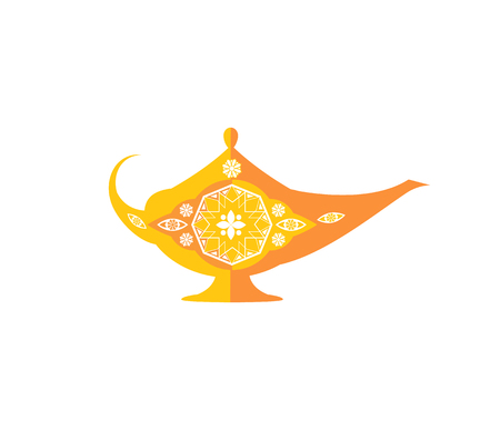 Magic bowl arabic genie lamp with ornament vector illustration, ceramic product abstract floral template, isolated on white pottery decorative pattern