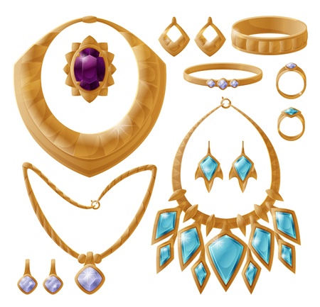 Carcanet and bracelet set, gold jewelry with stones, massive brooch, necklace and chain, ring accessories collection isolated on vector illustration Ilustração