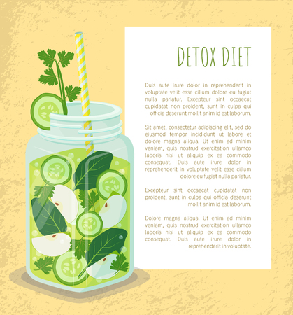 Detox diet poster jar of refreshing drink containing organic green cucumber, bay leaves, slices of apple, ice cubes vector vegetarian dieting cocktail Illustration