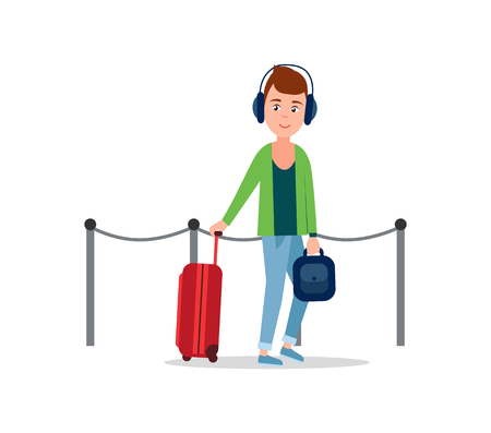 Teenager in airport pulling baggage on wheels holding handle of it, travelling of youth wearing stylish clothings and headphones vector illustration 일러스트