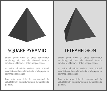Square Pyramid and Tetrahedron Geometric Figures Illustration