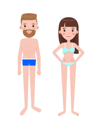 Man and woman in swimsuits or underwear. Male, female cartoon characters. Guy wears underpants, bra with bikini on girl isolated vector illustration.
