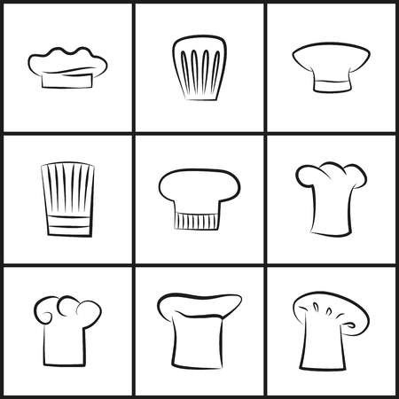 Chef Hats of All Shapes Thin Outline Illustrations Stock Vector - 107112896